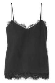 L'Agence Daniella lace-trimmed washed-silk camisole