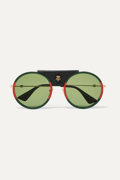 81b50a0dedf74 Gucci. Round-frame striped acetate and textured-leather sunglasses