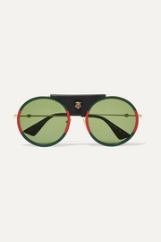 Round-frame striped acetate and textured-leather sunglasses