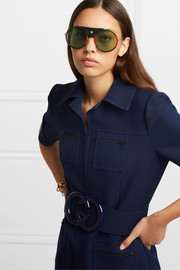 Gucci Round-frame striped acetate and textured-leather sunglasses