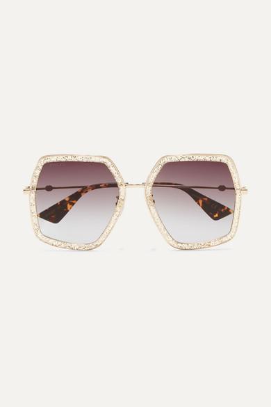 126a63cadae Gucci. Square-frame glittered acetate sunglasses