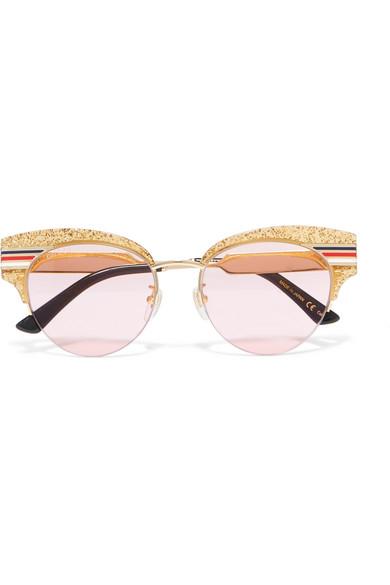 8dc637e168759 Gucci. Cat-eye glittered acetate and gold-tone sunglasses