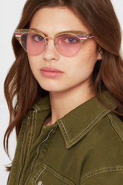 Cat-eye glittered acetate and gold-tone sunglasses