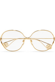 Round-frame gold-tone optical glasses