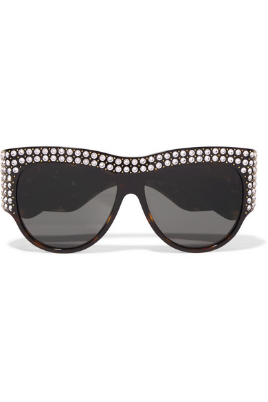 c207b6b0fb Gucci. Embellished D-frame tortoiseshell acetate sunglasses