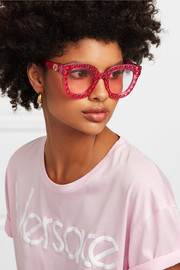 Crystal-embellished square-frame acetate sunglasses