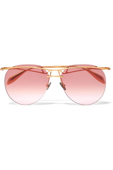 Crystal-embellished Aviator-style Gold-tone Sunglasses - one size Alexander McQueen b01zJ
