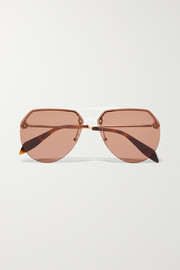 Aviator-style acetate and gold-tone sunglasses