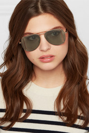 Cutout aviator-style gold-tone sunglasses