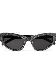 Saint Laurent Crystal-embellished cat-eye acetate sunglasses