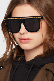 Chain-embellished D-frame acetate sunglasses