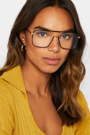 Stella McCartney D-frame acetate and gold-tone optical glasses