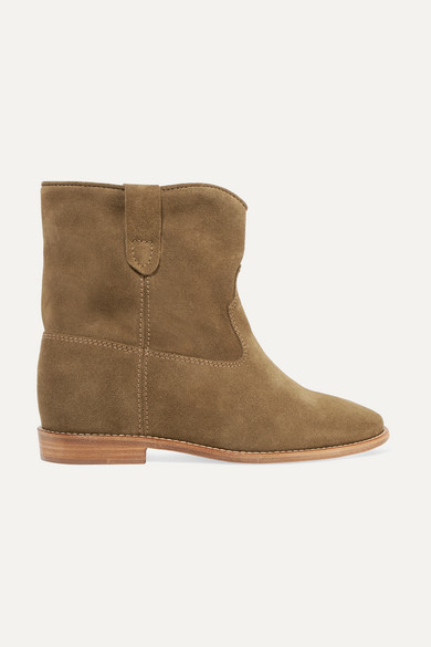 Crisi Wedge Brown Suede Ankle Boots