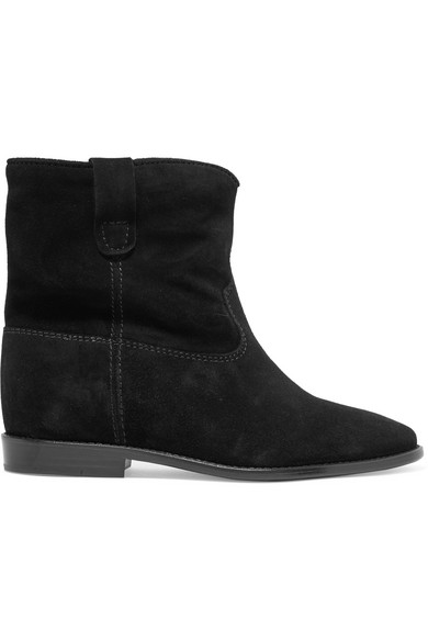 Crisi Wedge Black Suede Ankle Boots