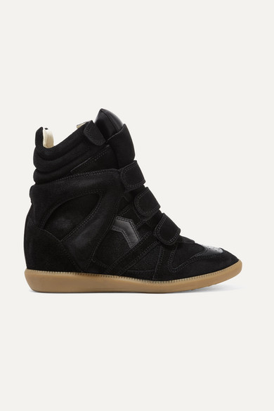 Bekett Leather-Trimmed Suede Wedge Sneakers in 01Bk Black