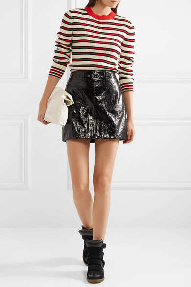 1bce68cbcb8 Isabel Marant. Bekett leather-trimmed suede wedge sneakers.  600. Play.  Zoom In