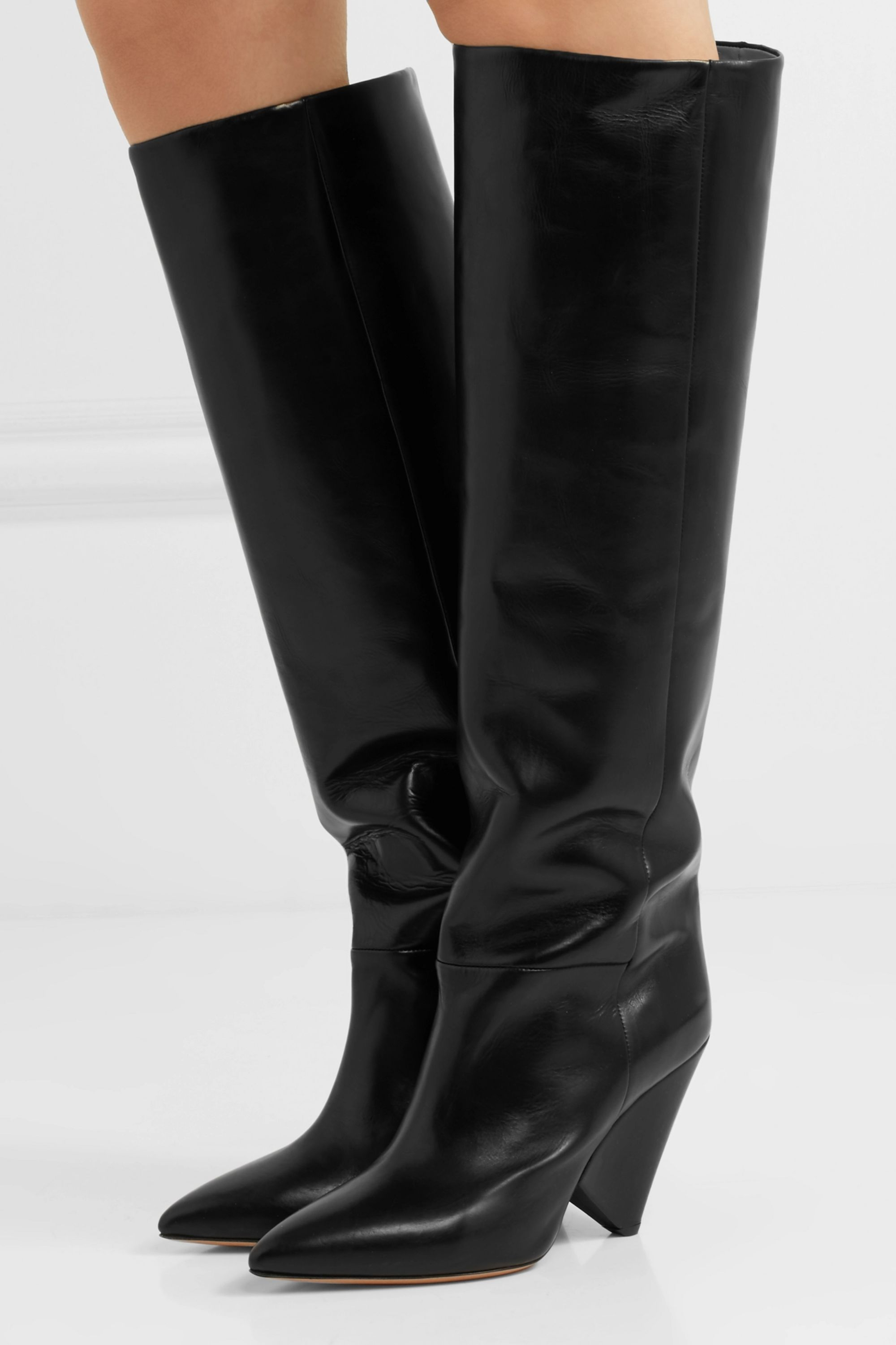 Isabel Marant Lokyo glossed-leather knee-high boots