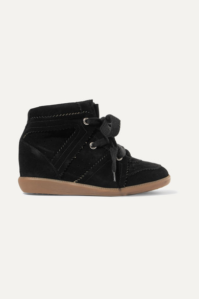 Woman Bobby Suede Wedge Sneakers Black
