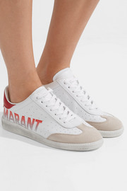 Isabel Marant Bryce logo-print suede-trimmed leather sneakers