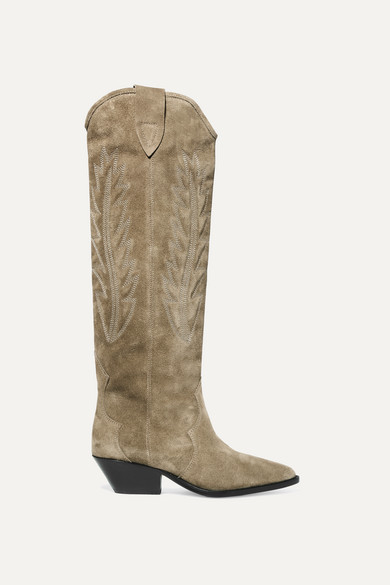 Isabel Marant - Denzy Embroidered Suede Knee Boots - Beige