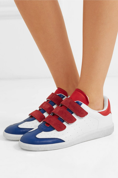 Beth Suede Trimmed Color Block Leather Sneakers by Isabel Marant