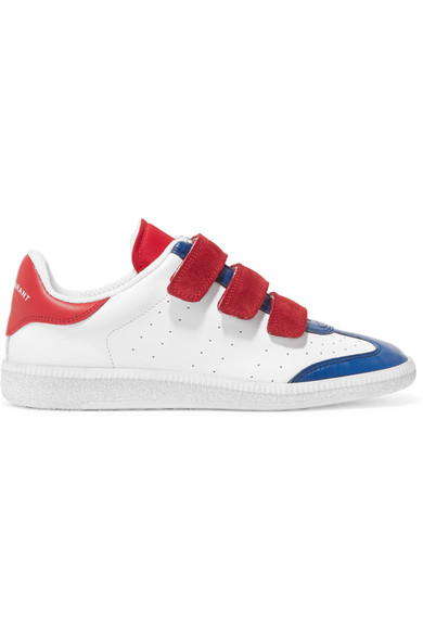 Beth Suede-Trimmed Color-Block Leather Sneakers, White/ Blue/ Red