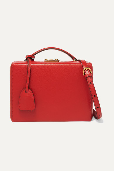 Grace Small Textured-Leather Shoulder Bag in Red