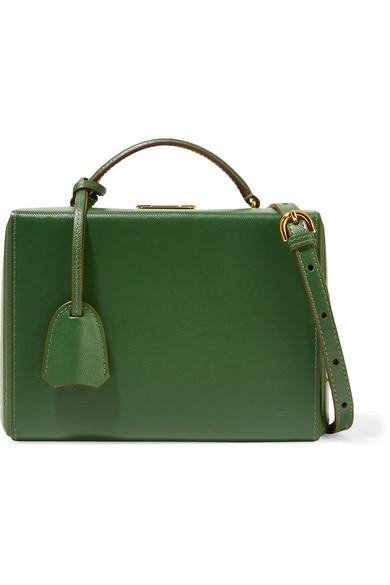 Mark Cross - Grace Small Textured-leather Shoulder Bag - Leaf green