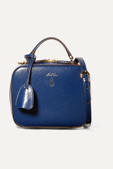 Mark Cross - Baby Laura Metallic Patent-leather Shoulder Bag - Blue