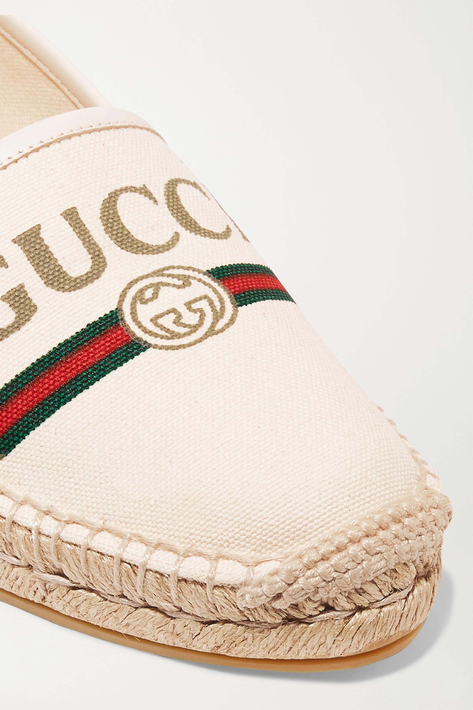 Gucci Leather-trimmed logo-print canvas espadrilles