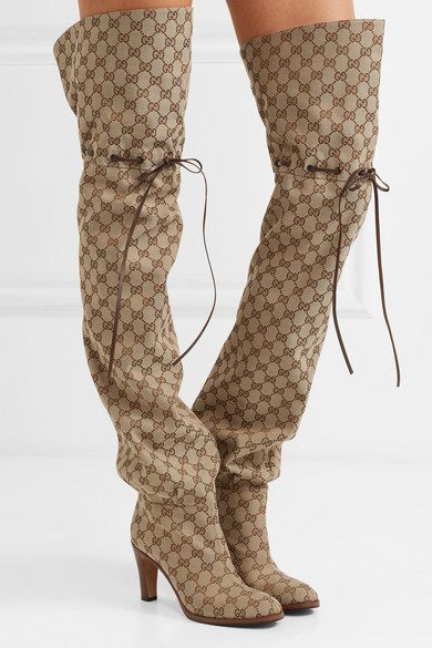 8c1541e8180 Leather-trimmed logo-jacquard over-the-knee boots
