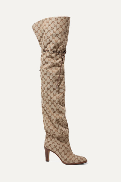 dfd7d49c8b Gucci | Leather-trimmed logo-jacquard over-the-knee boots | NET-A-PORTER.COM