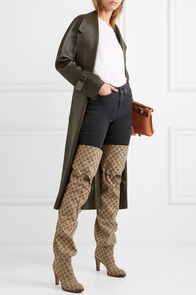 Gucci Boots Leather-trimmed logo-jacquard over-the-knee boots