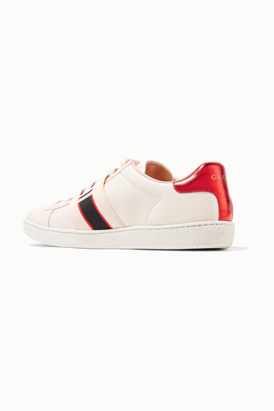 Gucci Sneakers Ace jacquard-trimmed logo-embossed leather sneakers