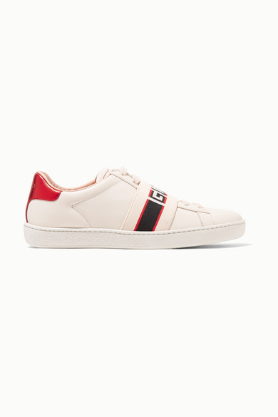 Gucci New Ace Guccy Logo Sneaker With Genuine Snakeskin Trim In 9086 White