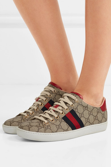 9df0af52b59 Ace GG Supreme metallic watersnake-trimmed logo-print coated-canvas sneakers