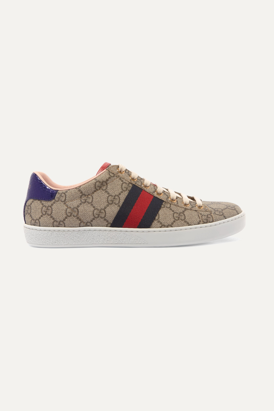 Gucci Ace GG Supreme metallic watersnake-trimmed logo-print coated-canvas sneakers