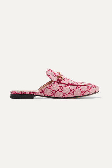 Gucci Shoes Princetown horsebit-detailed logo-woven canvas slippers