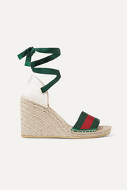 Lilibeth striped grosgrain and canvas wedge espadrilles
