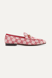 Gucci Jordaan horsebit-detailed leather-trimmed logo-printed canvas loafers