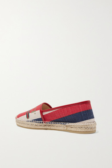 Gucci Shoes Leather-trimmed striped logo-print canvas espadrilles