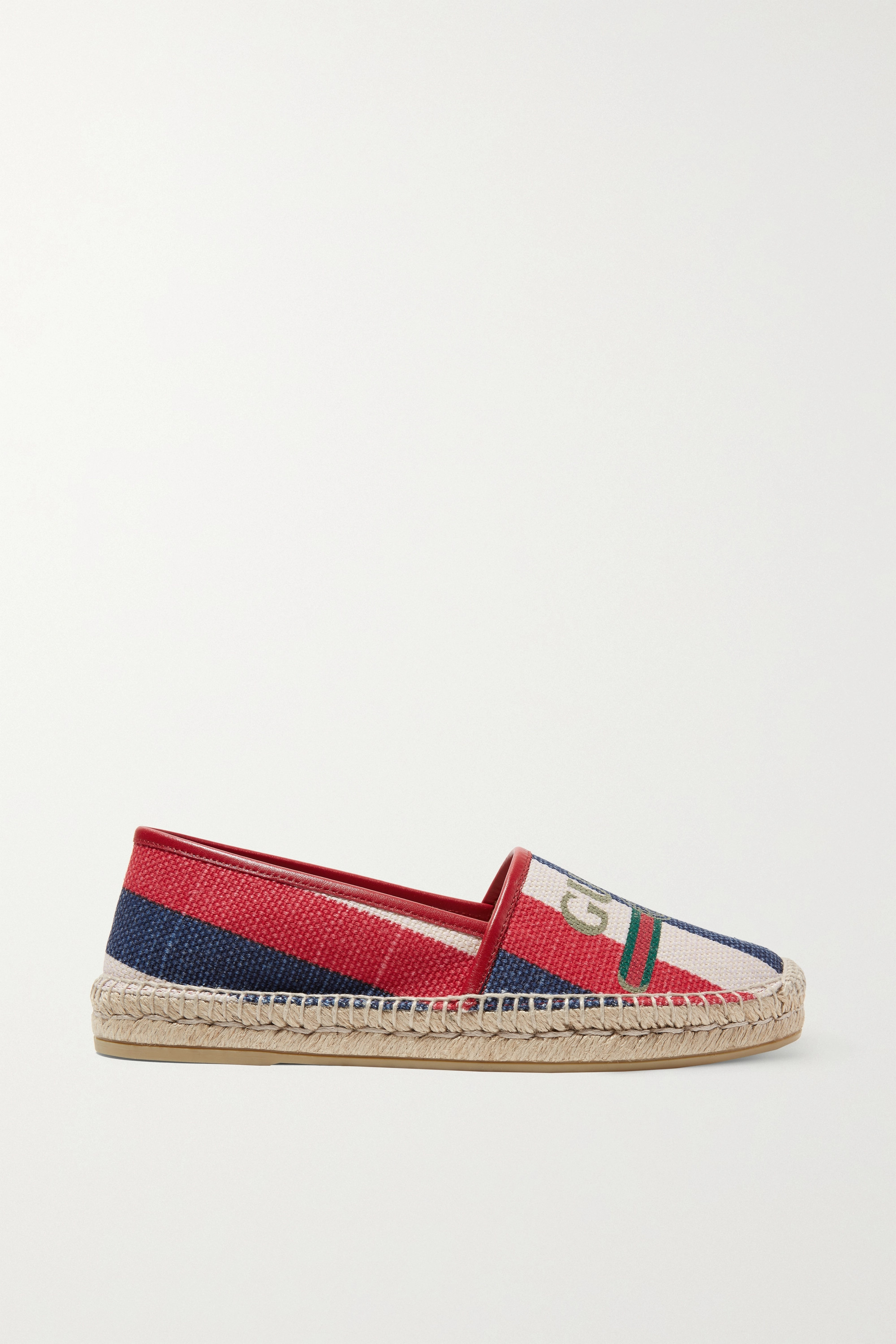 Gucci Leather-trimmed striped logo-print canvas espadrilles