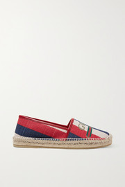 Pilar leather-trimmed striped logo-print canvas espadrilles