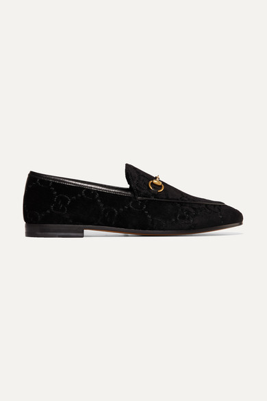 Jordaan Horsebit-Detailed Leather-Trimmed Logo-Jacquard Loafers in Black