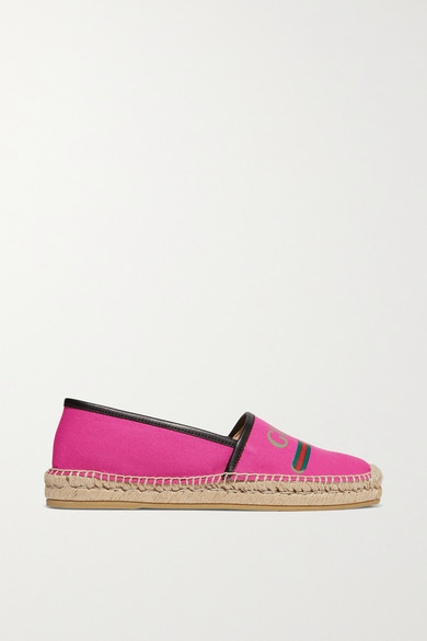 Gucci Shoes Leather-trimmed logo-print canvas espadrilles