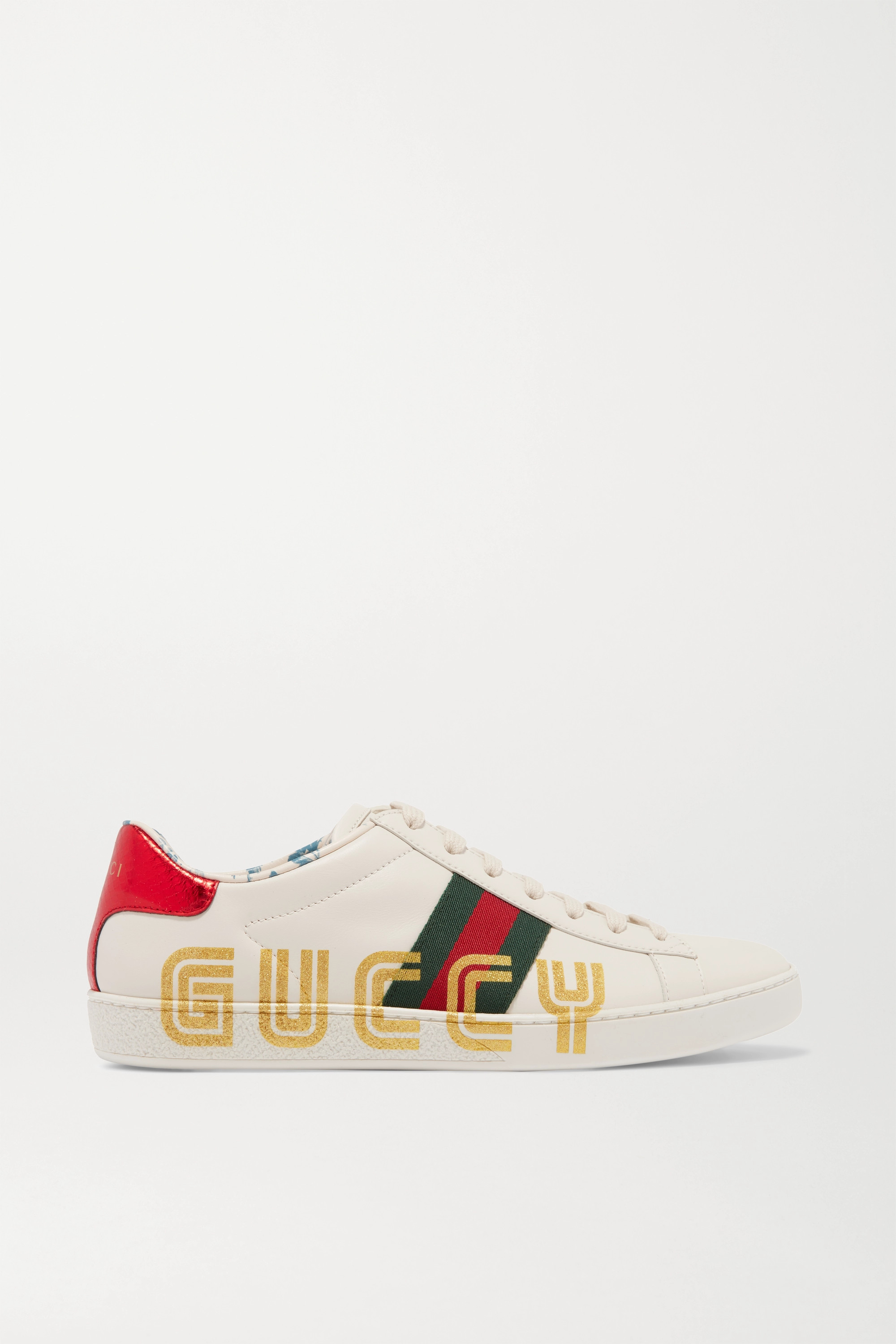 Gucci Ace metallic watersnake-trimmed logo-print leather sneakers