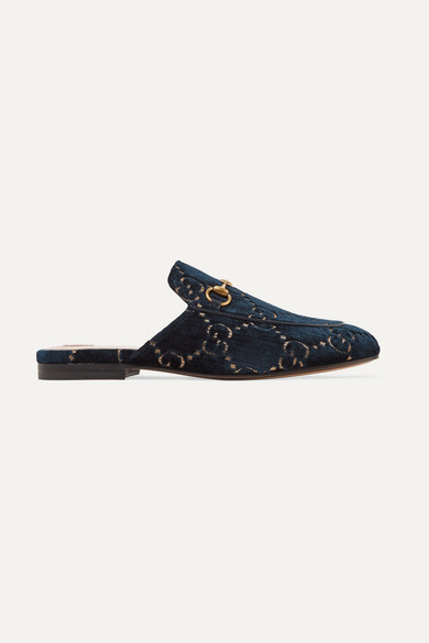 aec7a26bf398 Gucci. Princetown horsebit-detailed leather-trimmed embroidered velvet  slippers