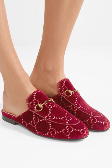 Gucci Shoes Princetown horsebit-detailed logo-jacquard slippers