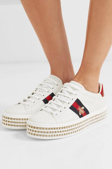 Ace embellished leather platform sneakers