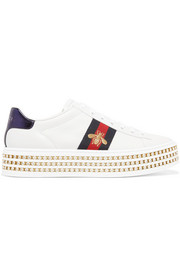 Gucci Ace embellished leather platform sneakers